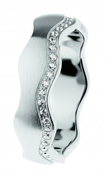 Ernstes Design Evia Ring R556 , Welle, Vorsteckring, Edelstahl matt, 6 mm, Zirkonia weiß