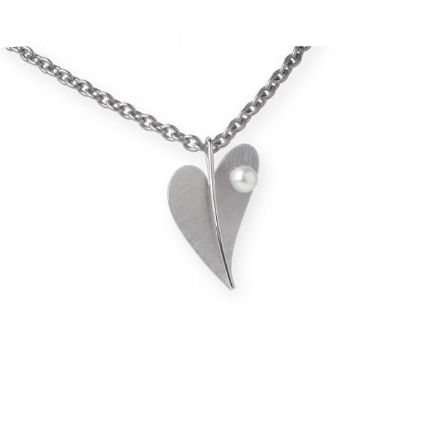 Ernstes Design Anhänger, kleines Herz Edelstahl mit Süßwasser Perle ohne Kette, AN208