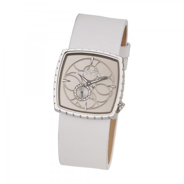 Ernstes Design Damen-Armbanduhr Edelstahl mit Lederarmband U004 WH ca. 32 x 32 mm