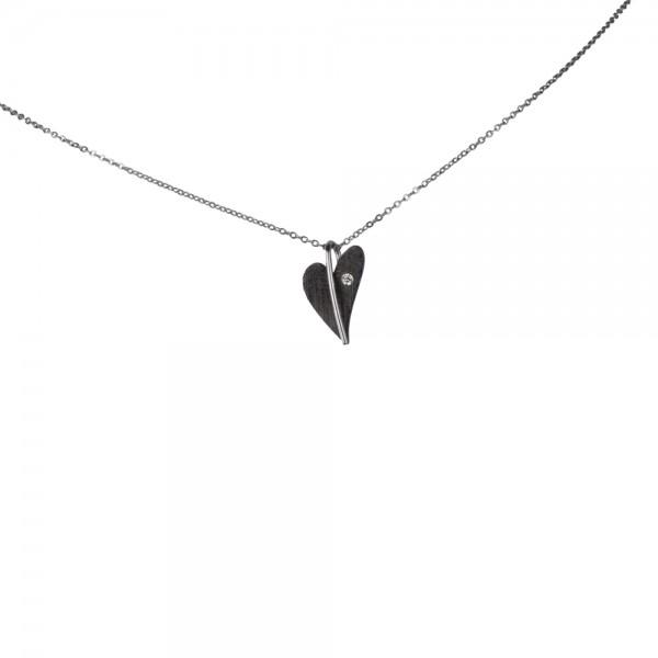 Ernstes Design Anhänger, kleines Herz Edelstahl schwarz beschichtet mit Diamant ohne Kette, AN419