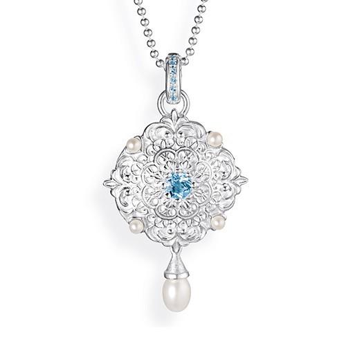 Drachenfels Queen Lisbeth-Kollektion Medaillon Anhänger Silber mit Topas und Perlen D QL 32-1