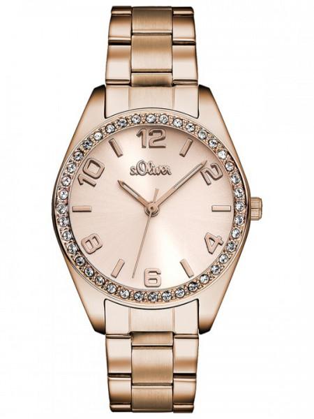 s.Oliver Uhr Damenuhr rosé SO 2903 MQ mit Steinen rund Edelstahlarmband