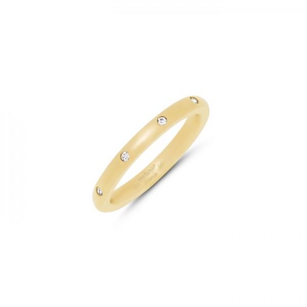 Melano Friends Nori Matt CZ Vorsteckring, schmaler Ring aus Edelstahl goldfarben / Zirkonia