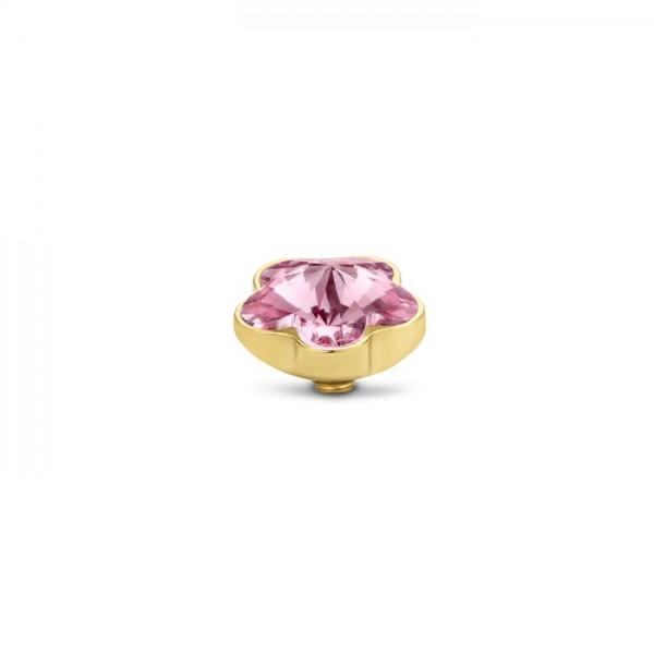 Melano Twisted Ringaufsatz, Fassung Blume, Edelstahl goldfarben mit Zirkonia in Farbe rosa, TM71