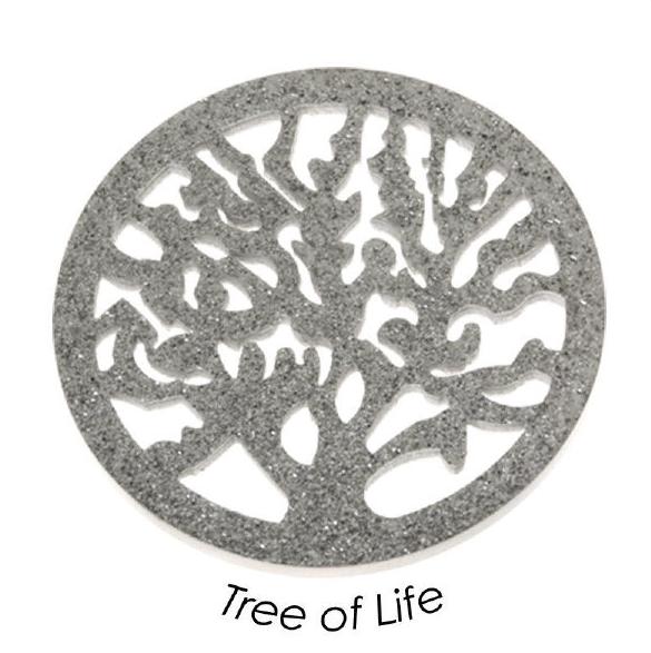 Quoins Schmuck Münze Scheibe Baum in Edelstahl Tree of Life in L