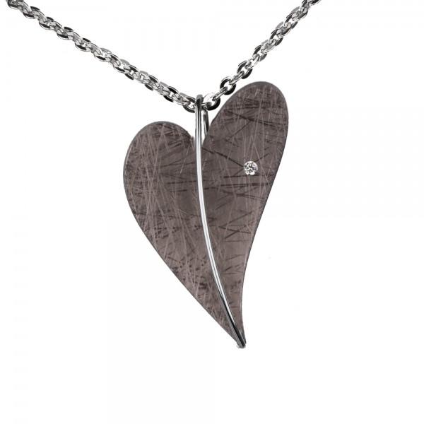Ernstes Design Anhänger, Herz aus Edelstahl altbronze beschichtet mit Diamant ohne Kette, AN404