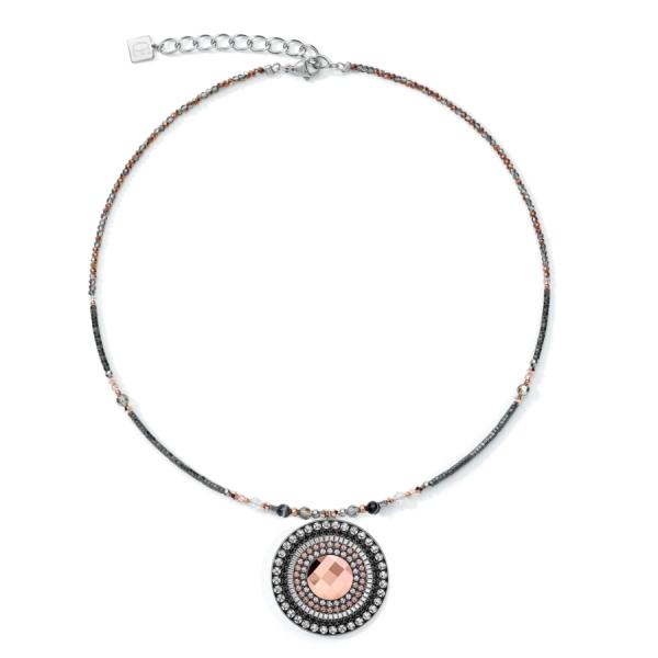 Coeur de Lion Halskette, Edelstahl, Hämatit, Streifen-Onyx, Glas, 5035/10-01218