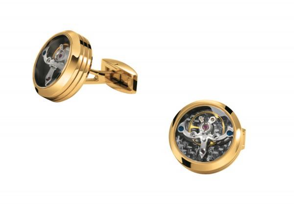 Manschettenknöpfe Exquisit mit Tourbillon Käfig aus Edelstahl PVD beschichtet goldfarben TF EST. 196