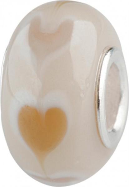 Murano Bead, Murano Glaskugel für Bettelarmband beige, GPS 08 von Charlot Borgen Design