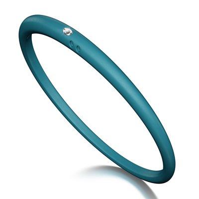 Duepunti Armreif Reif Bangles aus Silikon in blau mit einem Diamanten
