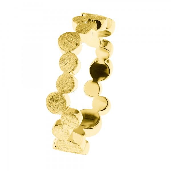 Ernstes Design R582 Evia Ring, Vorsteckring, Edelstahl matt, gekratzt, goldfarben beschichtet, 6mm
