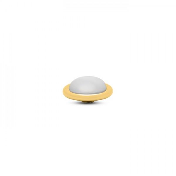 Melano Vivid, VM32 Aufsatz / Fassung Frosted Round, 14mm, Edelstahl goldfarben / Stein in white