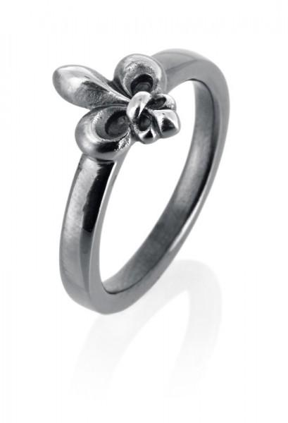 heartbreaker designed by Drachenfels style & go-Steckring franz. Lilie Silber geschwärzt