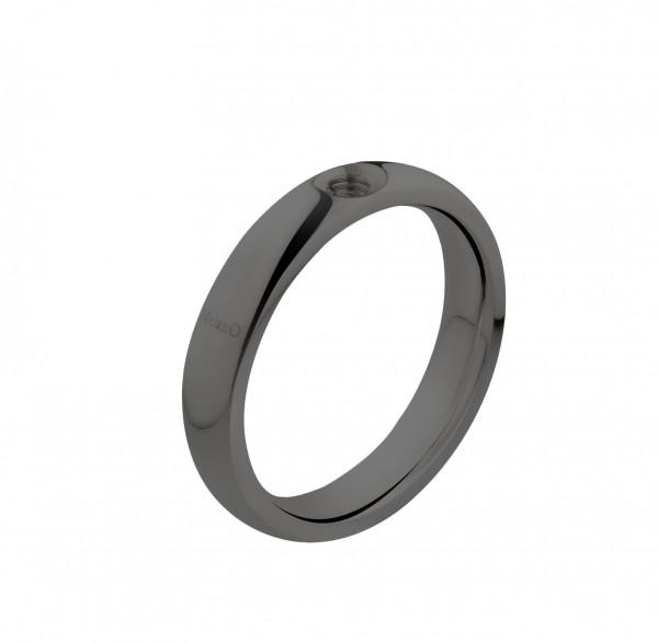 Melano twisted Ring mit Fassung in Edelstahl schwarz von Melano twisted Schmuck M01R 5010