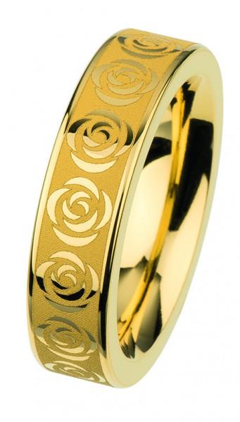 Ernstes Design Vorsteckring, Beisteckring, ED vita,Ring aus Edelstahl goldfarben Rosen / Blüten, 6mm