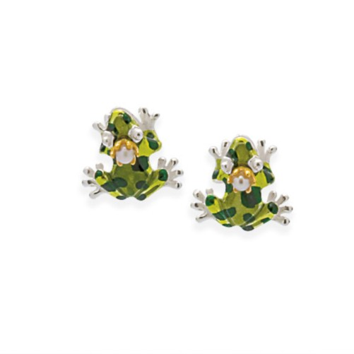 Drachernfels Ohrring Frosch mit Krone Ohrstecker in Silber D GFR 21-1 Drachenfels Design Schmuck Gif