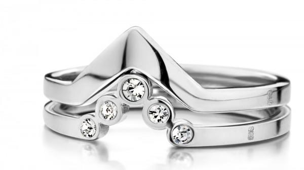 Melano friends Ringkombination aus Edelstahl und Zirkonia in Farbe Kristall