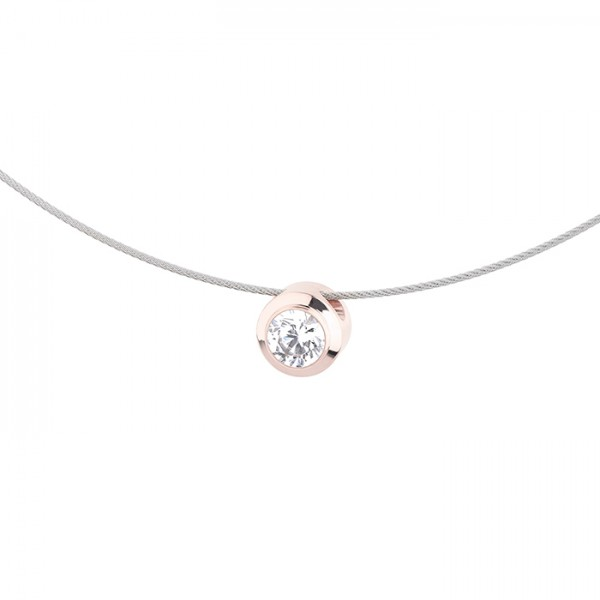 Ernstes Design Evia Set K733 Halskette mit Anhänger Edelstahl teils rosé beschichtet, Zirkonia