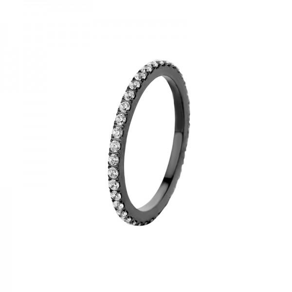 Melano Vorsteckring, schmaler Ring aus Edelstahl beschichtet schwarz mit Zirkonia Farbe Kristall