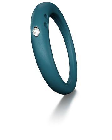 Duepunti Ring aus Silikon in blau dunkeltürkis mit einem Diamante