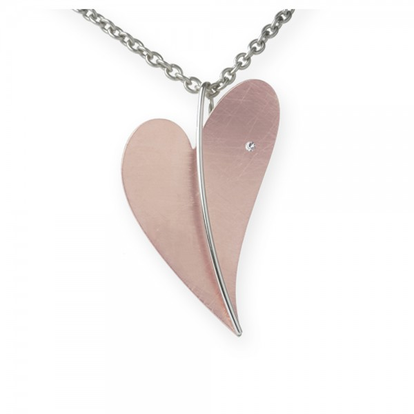 Ernstes Design Anhänger, Herz aus Edelstahl teilvergoldet rotgold mit Diamant ohne Kette, AN231