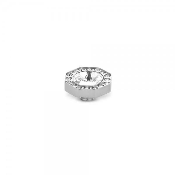 Melano Vivid, VM20 Ringaufsatz Octagon CZ, Edelstahl mit Zirkonia in Farbe Kristall, 10 mm