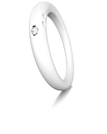 Duepunti Ring in weiss aus Silikon mit einem Diamanten DPR 9010 white