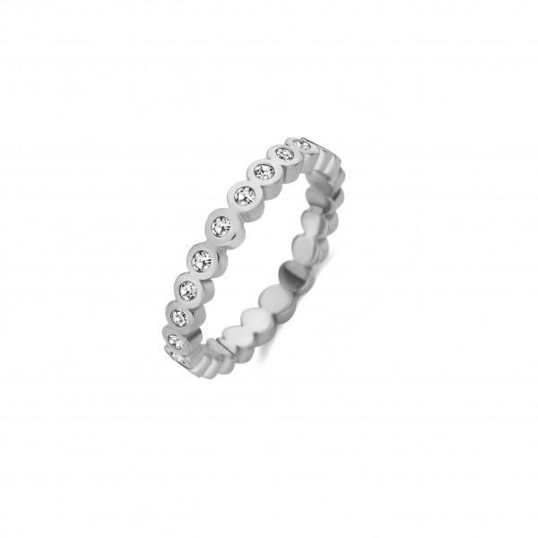 MelanO Friends Ring, Vorsteckring, Wave CZ, Edelstahl mit weißen Zirkonia, 3mm, FR31