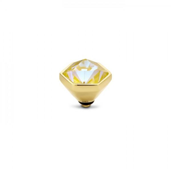 Melano Twisted Ringaufsatz, Fassung Hexa, Edelstahl golden mit Zirkonia in Farbe Crystal sun delit