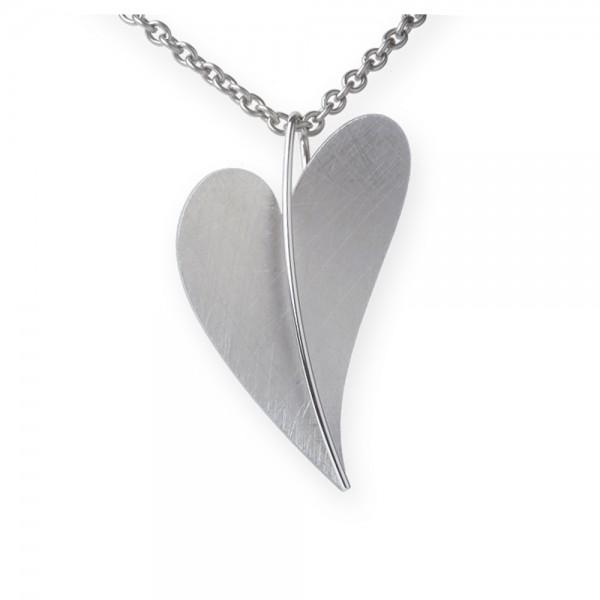 Ernstes Design Anhänger, großes Herz aus Edelstahl matt glänzend AN211 ohne Kette