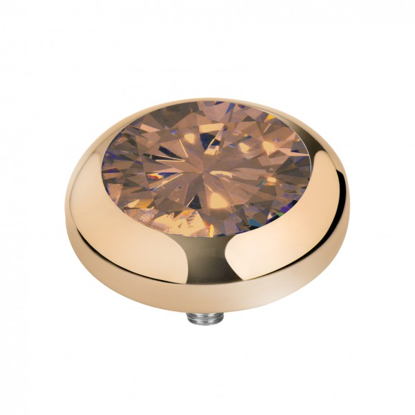 Melano Vivid Kopf Aufsatz Fassung CZ Meddy´s Edelstahl goldfarben mit Zirkonia Farbe champagner