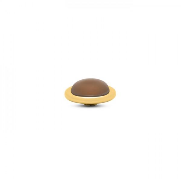 Melano Vivid, VM32 Aufsatz / Fassung Frosted Round, 14mm, Edelstahl goldfarben / Stein in camel
