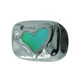 Piccolo Anhänger, Charm, Bead, Kugel APE-015 Emaillekugel mit Silberkern Herz