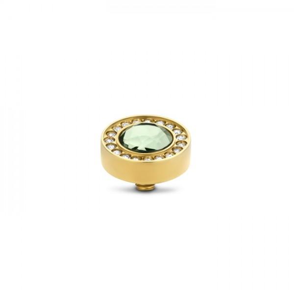 Melano Twisted Ringaufsatz, TW Halo cz stone, Edelstahl goldfarben mit Zirkonia in Farbe Chrysolite