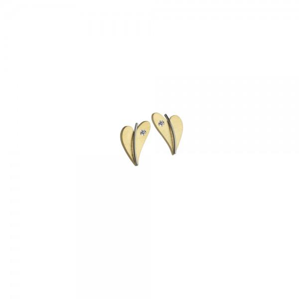 Herz Ohrstecker von Ernstes Design Edelstahl gelbgold mit Diamant, E265 geschwungenes Herz