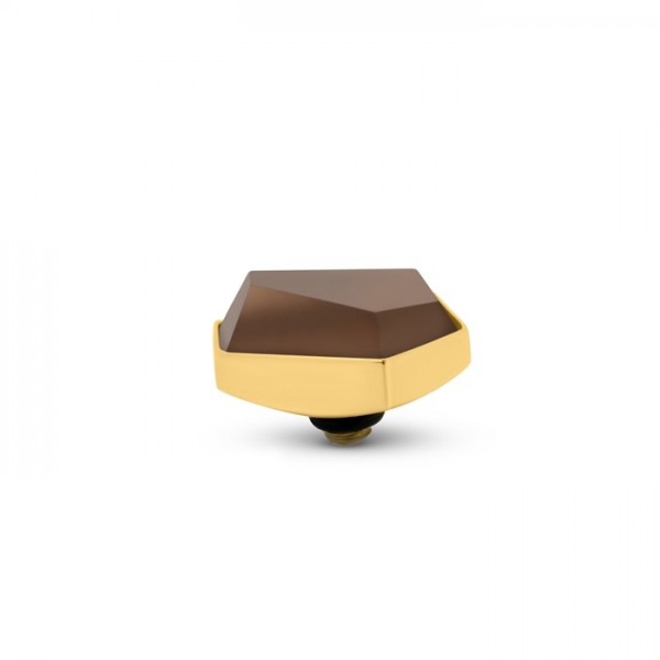 Melano Twisted Ringaufsatz, Fassung, Frosted Geo, TM79, 12 mm, Edelstahl goldfarben mit Glasstein