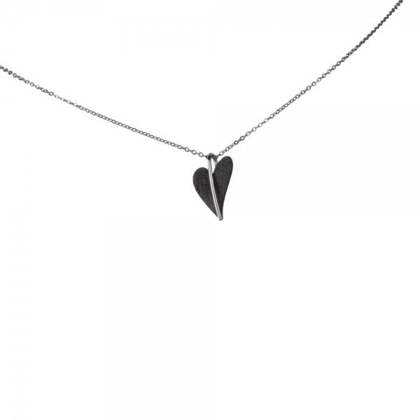Ernstes Design Anhänger, AN417, kleines Herz aus Edelstahl schwarz beschichtet ohne Kette