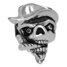 Totenkopf mit Mütze und Zigarre als Anhänger für Männer Modischer Männerschmuck Für Hals und Armkett