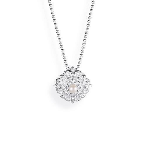 Drachenfels Queen Lisbeth-Kollektion Ornament Anhänger Klein Silber mit Perle D QL 35-P