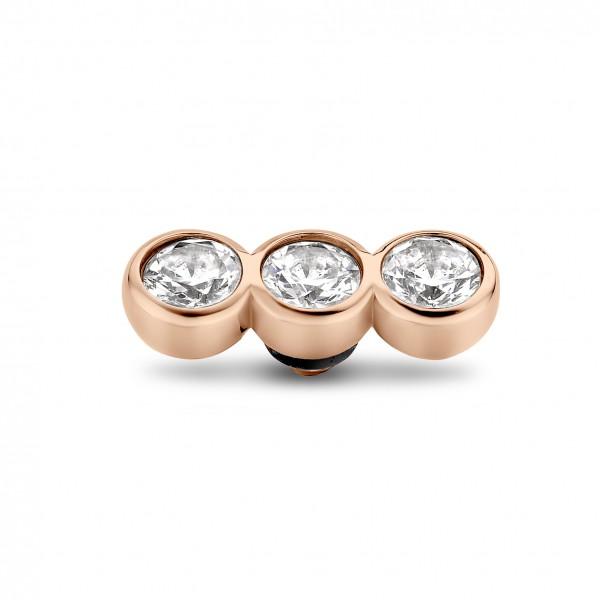 Melano Twisted Ringaufsatz, Fassung Edelstahl rosé Tripple Zirkonia in Farbe Kristall