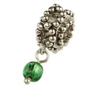 Silberkugel geschwärzt mit grüner Glaskugel, Charlot Borgen Design