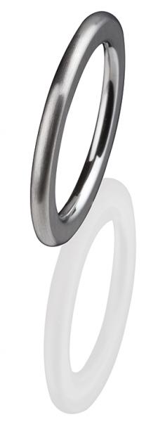Ernstes Design Vorsteckring, Beisteckring, schmaler Ring aus Edelstahl R 250 mattiert 2 mm ED VITA