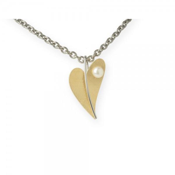 Ernstes Design, Herz Anhänger Edelstahl gelbgold mit Süßwasser Perle ohne Kette, AN209