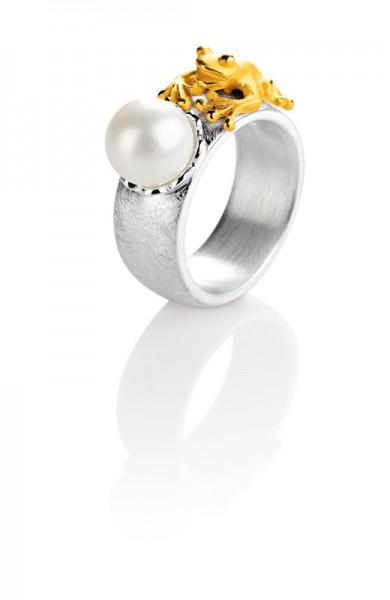 Drachernfels Ring Frosch mit Perle Silber goldplattiert D FR 14 Drachenfels Design Froschkönigring