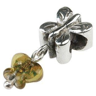 Silberkugel geschwärzt mit Kristallschmetterling, Charm, Charlot Borgen Design