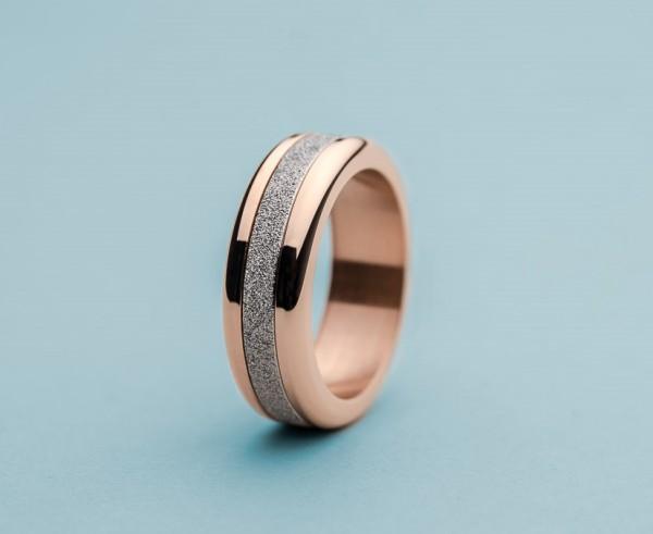 Bering Ring rosé 520-30-X3 Kombinationsring Außenring Breit mit 1 Innenring Edelstahl-