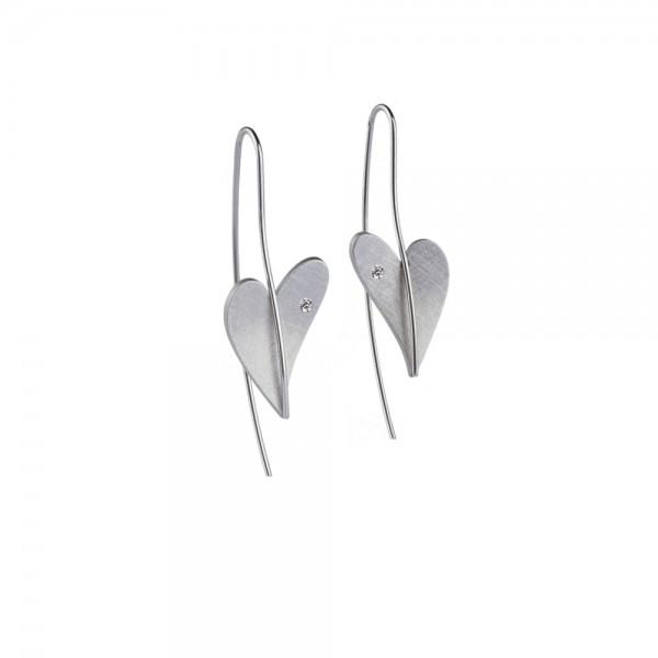 Herz Ohrhänger mit Diamant von Ernstes Design in Edelstahl, E261 geschwungenes Herz