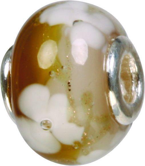 Mundgeblasene Muranoglaskugel mit Silberkern, Charm, Bead, GPS 58 braun von Piccolo das Original