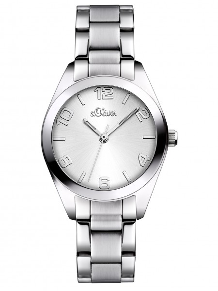 s.Oliver Uhr Damenuhr SO 2489 MQ, 30 mm rund mit Edelstahlarmband