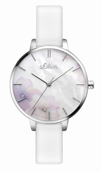 s.Oliver Uhr, Damenuhr weiß, rund, schmales Lederarmband, SO 3522 LQ